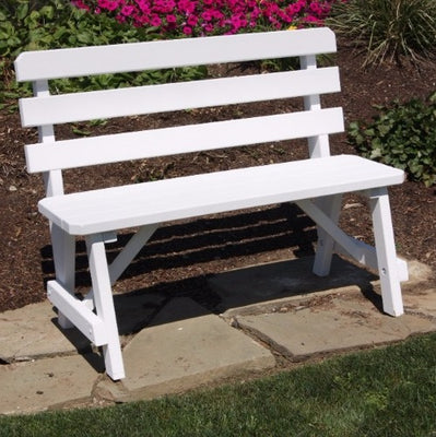 A&L Furniture Amish-Made Pine Traditional Backed Bench, White