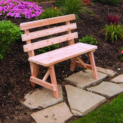 A&L Furniture Co. Amish-Made Cedar Traditional Backed Bench, Unfinished