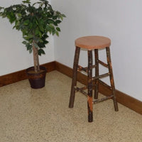 A&L Furniture Amish-Made Hickory Bar Stools, Natural Finish