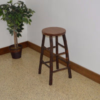 A&L Furniture Amish-Made Hickory Bar Stools, Walnut Finish