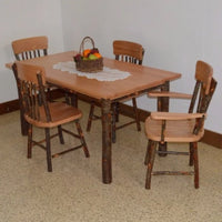 A&L Furniture Amish Hickory 5-Piece Farm Table and Chair Set, Natural Finish