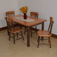 A&L Furniture Amish Hickory Deluxe 5-Piece Farm Table and Chair Set, Natural Finish
