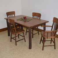 A&L Furniture Amish Hickory 5-Piece Farm Table and Chair Set, Walnut Finish