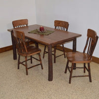 A&L Furniture Amish Hickory Deluxe 5-Piece Farm Table and Chair Set, Walnut Finish