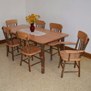 A&L Furniture Amish Hickory 7-Piece Farm Table and Chair Set, Natural Finish