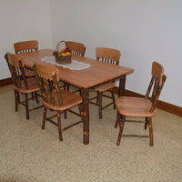 A&L Furniture Amish Hickory Deluxe 7-Piece Farm Table and Chair Set, Natural Finish