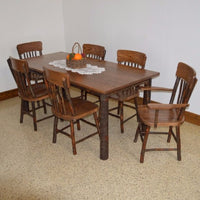 A&L Furniture Amish Hickory 7-Piece Farm Table and Chair Set, Walnut Finish