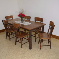 A&L Furniture Amish Hickory Deluxe 7-Piece Farm Table and Chair Set, Walnut Finish