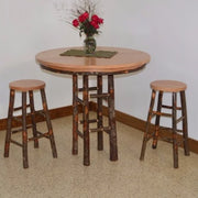 A&L Furniture Amish-Made Hickory 3-Piece Bar Table and Stool Set, Natural