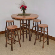 A&L Furniture Co. Amish-Made Hickory 5-Piece Bar Table and Stool Set, Natural Finish
