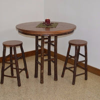 A&L Furniture Amish-Made Hickory 3-Piece Bar Table and Stool Set, Walnut