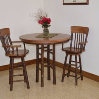 A&L Furniture Amish-Made Hickory 3-Piece Bar Table and Chair Set, Walnut