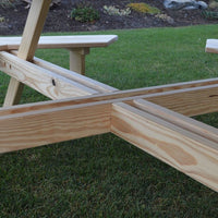 "Closeup of Legs on A&L Furniture Co. 44"" Amish-Made Square Cedar Walk-In Picnic Table"