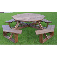 "A&L Furniture Co. 54"" Amish-Made Octagonal Cedar Walk-In Picnic Table, Mushroom Stain"