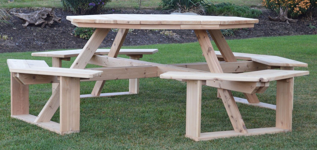 "A&L Furniture Co. 54"" Amish-Made Octagonal Cedar Walk-In Picnic Table, Unfinished"
