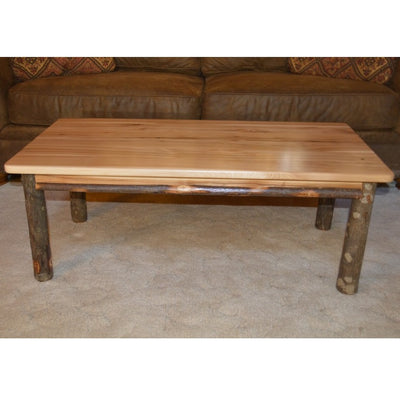 A&L Furniture Rustic Hickory Solid Wood Coffee Table