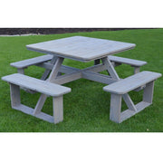 "A&L Furniture Co. 44"" Amish-Made Square Cedar Walk-In Picnic Tables, Gray Stain"
