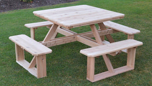 "A&L Furniture Co. 44"" Amish-Made Square Cedar Walk-In Picnic Tables, Unfinished"