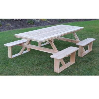 A&L Furniture Co. 8' Amish-Made Rectangular Cedar Walk-In Picnic Table