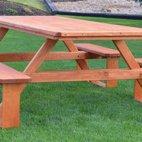 A&L Furniture Co. 8' Amish-Made Rectangular Pressure-Treated Pine Walk-In Picnic Table, Cedar Stain