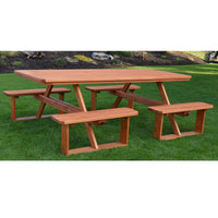 A&L Furniture Co. 8' Amish-Made Rectangular Pressure-Treated Pine Walk-In Picnic Tables