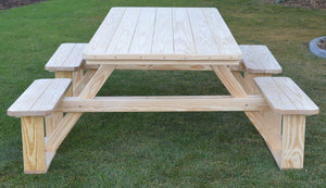 A&L Furniture Co. 8' Amish-Made Rectangular Pressure-Treated Pine Walk-In Picnic Table, Unfinished
