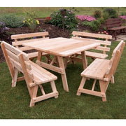 "A&L Furniture Company 43"" Amish-Made Square Cedar Picnic Table"