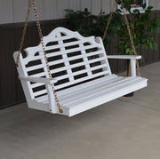 A&L Furniture Amish-Made Pine Marlboro Porch Swing, White