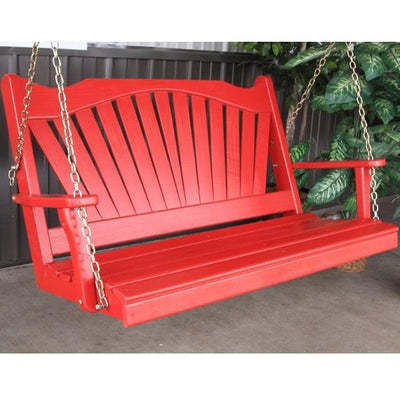 A&L Furniture Amish-Made Pine Fanback Porch Swing, Tractor Red