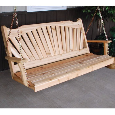 A&L Furniture Co. Amish-Made Cedar Fanback Porch Swing, Unfinished