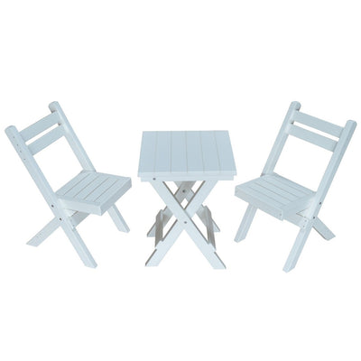 A&L Furniture Poly Square Coronado Folding Bistro Set, White