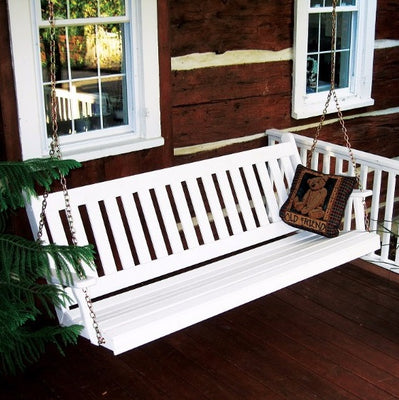 A&L Furniture Amish-Made Pine Traditional English Porch Swing, White