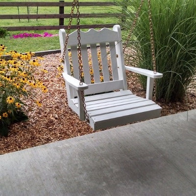 A&L Furniture Amish-Made Pine Royal English Porch Swing, White