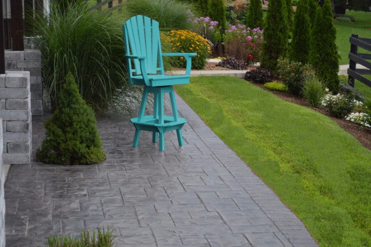 A&L Furniture Co. Amish-Made Poly Adirondack Swivel Dining Chair with Arms, Aruba Blue