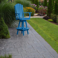 A&L Furniture Co. Amish-Made Poly Adirondack Swivel Dining Chair with Arms, Blue
