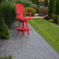 A&L Furniture Co. Amish-Made Poly Adirondack Swivel Dining Chair with Arms, Bright Red