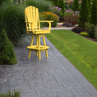 A&L Furniture Co. Amish-Made Poly Adirondack Swivel Dining Chair with Arms, Lemon Yellow