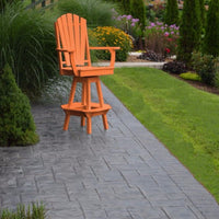 A&L Furniture Co. Amish-Made Poly Adirondack Swivel Dining Chair with Arms, Orange