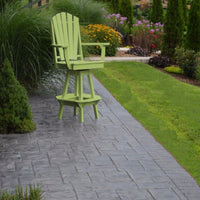 A&L Furniture Co. Amish-Made Poly Adirondack Swivel Dining Chair with Arms, Tropical Lime