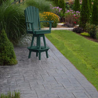 A&L Furniture Co. Amish-Made Poly Adirondack Swivel Dining Chair with Arms, Turf Green