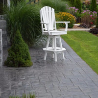 A&L Furniture Co. Amish-Made Poly Adirondack Swivel Dining Chair with Arms, White