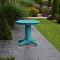 "A&L Furniture 33"" Round Outdoor Poly Dining Table, Aruba Blue"