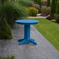 "A&L Furniture 33"" Round Outdoor Poly Dining Table, Blue"