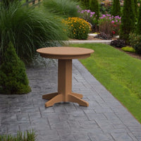 "A&L Furniture 33"" Round Outdoor Poly Dining Table, Cedar"