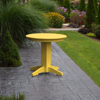 "A&L Furniture 33"" Round Outdoor Poly Dining Table, Lemon Yellow"