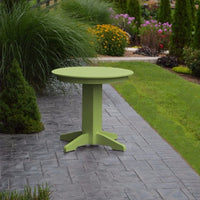 "A&L Furniture 33"" Round Outdoor Poly Dining Table, Tropical Lime"