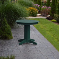 "A&L Furniture 33"" Round Outdoor Poly Dining Table, Turf Green"