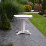 "A&L Furniture 33"" Round Outdoor Poly Dining Table, White"