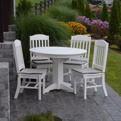 A&L Furniture Poly 5pc Classic Dining Set with Round Table