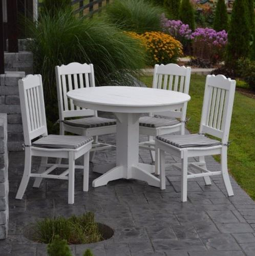 A&L Furniture Poly 5pc Royal Dining Set with Round Table